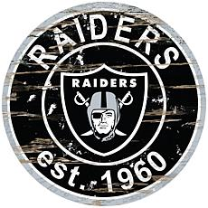 Oakland Raiders Round Distressed Sign