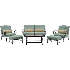 Oceana 6pc Outdoor Patio Set w/Tile Coffee Table - Blue