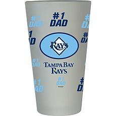"Officially Licensed MLB ""#1 Dad"" Frosted Pint Glass - Tampa Bay Rays"