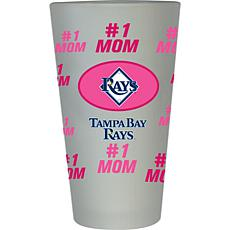 "Officially Licensed MLB ""#1 Mom"" Frosted Pint Glass - Tampa Bay Rays"