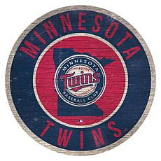 "Officially Licensed MLB 12"" Circle Sign with State & Logo"