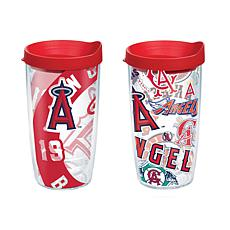 Officially Licensed MLB 16 oz. Tumbler Set w/Lids - Los Angeles Angels
