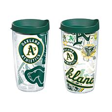 Officially Licensed MLB 16 oz. Tumbler Set w/Lids - Oakland Athletics