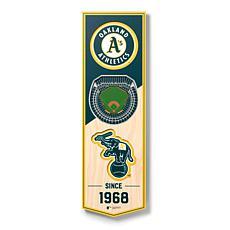 "Officially Licensed MLB 6"" x 19"" 3D Stadium Banner - Oakland Athletics"