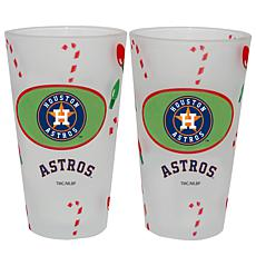 Officially Licensed MLB Christmas Day 16 oz. Pint Glass 2pk - Astros