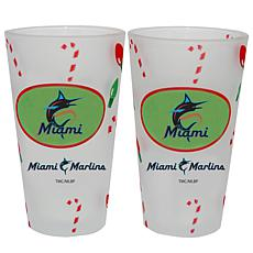 Officially Licensed MLB Christmas Day 16 oz. Pint Glass 2pk - Marlins
