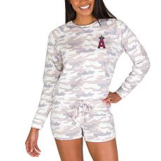 Officially Licensed MLB Concept Sport Ladies Top and Short Set- Angels