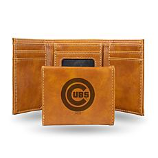 Officially Licensed MLB Laser-Engraved Trifold Brown Wallet - Cubs