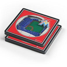 Officially Licensed MLB Miami Marlins 3-D StadiumViews 2-Pack Coasters