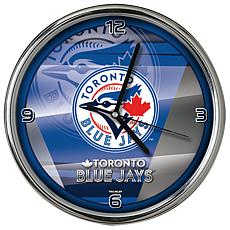 Officially Licensed MLB Shadow Chrome Clock - Blue Jays