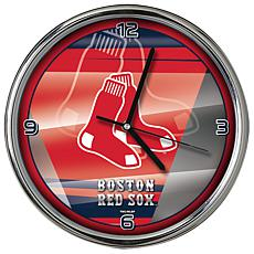 Officially Licensed MLB Shadow Chrome Clock - Red Sox