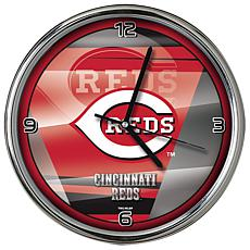 Officially Licensed MLB Shadow Chrome Clock - Reds
