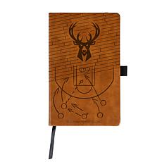 Officially Licensed NBA Engraved Brown Notebook - Milwaukee Bucks