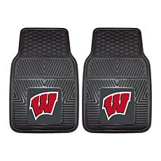Officially Licensed NCAA  2pc Vinyl Car Mat Set - Un. of Wisconsin