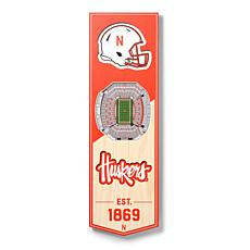 """Officially Licensed NCAA 6"""" x 19"""" 3D Stadium Banner - Cornhuskers"""