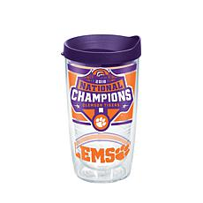 Officially licensed NCAA Clemson 2018 Champions 16 oz. Tumbler w/lid