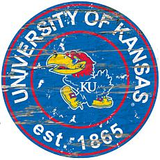 Officially Licensed NCAA  Distressed Round Sign - Kansas