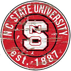 Officially Licensed NCAA  Distressed Round Sign - NC State Universi...