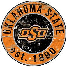 Officially Licensed NCAA  Distressed Round Sign - Oklahoma State