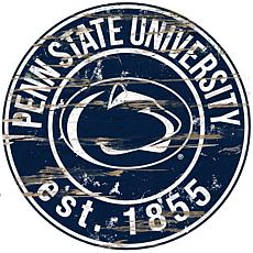 Officially Licensed NCAA  Distressed Round Sign - Penn State Un.
