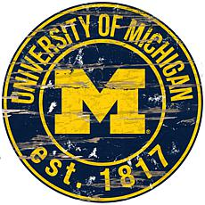 Officially Licensed NCAA  Distressed Round Sign - Un. of Michigan