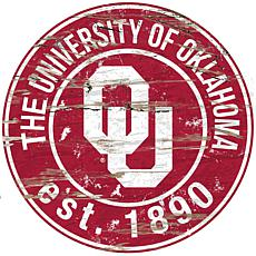 Officially Licensed NCAA  Distressed Round Sign - Un. of Oklahoma