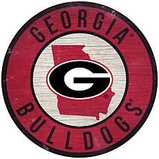 """Officially Licensed NCAA Georgia 12"""" Wood Circle"""