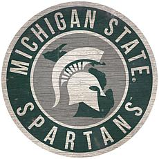 """Officially Licensed NCAA Michigan State 12"""" Wood Circle"""