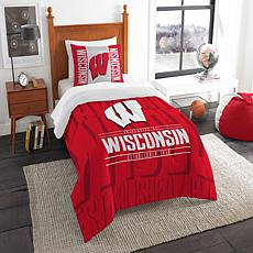Officially Licensed NCAA Modern Take Twin Comforter Set - Wisconsin