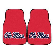 Officially Licensed NCAA Ole Miss Crimson Carpet Car Mat 2-Piece Set
