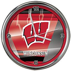 Officially Licensed NCAA Shadow Chrome Clock - University of Wisconsin