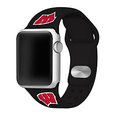 Officially Licensed NCAA Silicone Apple Watch Band - Wisconsin - Black