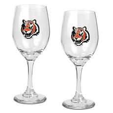 Officially Licensed NFL 2-piece Wine Glass Set-Bengals