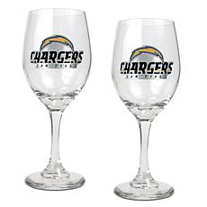 Officially Licensed NFL 2-piece Wine Glass Set-Chargers