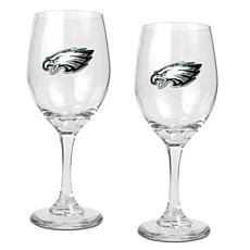 Officially Licensed NFL 2-piece Wine Glass Set-Eagles