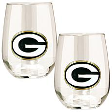 Officially Licensed NFL 2-piece Wine Glass Set-Packers