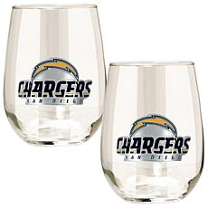 Officially Licensed NFL 2pc Wine Glass Set - Chargers
