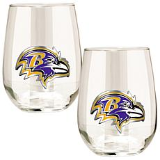 Officially Licensed NFL 2pc Wine Glass Set - Ravens