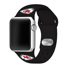 Officially Licensed NFL 42/44mm Black Apple Watch Band- KS City Chi...