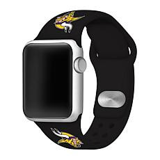 Officially Licensed NFL 42/44mm Black Apple Watch Band - MN Vikings