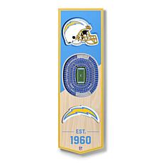 """Officially Licensed NFL 6x19"""" 3D Stadium Banner - Los Angeles Chargers"""