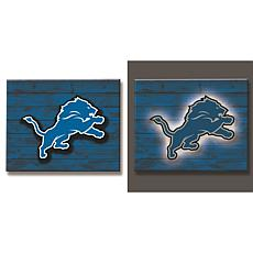 Officially Licensed NFL Backlit Wood Plank Wall Sign - Lions