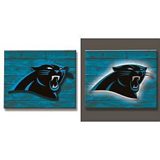 Officially Licensed NFL Backlit Wood Plank Wall Sign - Panthers