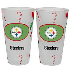 Officially Licensed NFL Christmas Day 16 oz. Pint Glass 2pk - Steelers