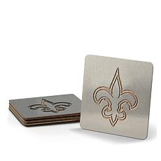 Officially Licensed NFL Cork Coasters with Stainless Steel Overlay