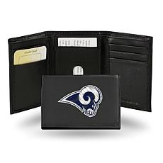 Officially Licensed NFL Embroidered Leather Trifold - Rams