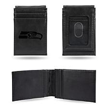Officially Licensed NFL Engraved Black Front Pocket Wallet - Seahawks