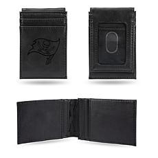 Officially Licensed NFL Engraved Black Front Pocket Wallet-Buccaneers