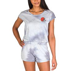 Officially Licensed NFL Marina Ladies Knit SS Romper - Browns