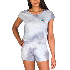 Officially Licensed NFL Marina Ladies Knit SS Romper - Dolphins